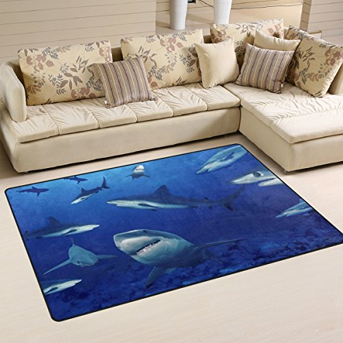 COOSUN Requins Tapis Tapis antidérapant Tapis Paillassons pour Living Room Chambre 78,7 x 50,8 cm (31 po x 20 po) 31 x 20 Pouces Multi