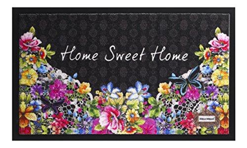 Trendstern - Zerbino con gufi e fiori decorativi, motivo: Welcome Melli Mello, Poliammide, nero/lilla