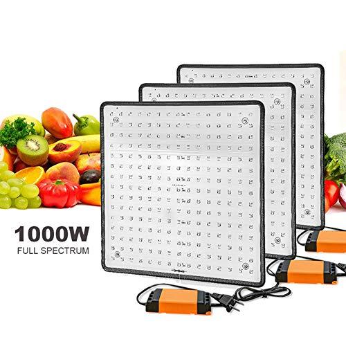 POOPFIY 3pcs LED Grow Light 1000W Full Spectrum Phyto Lamp Grow Carpa Led Luces para Plantas de Interior Vegetación Creciente