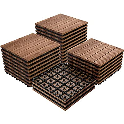 Yaheetech 27PCS Patio Pavers Interlocking Wood Composite Decking Flooring Deck Tiles 12 x 12 Fir Wood and Plastic Indoor Outdoor Applications Stripe Pattern