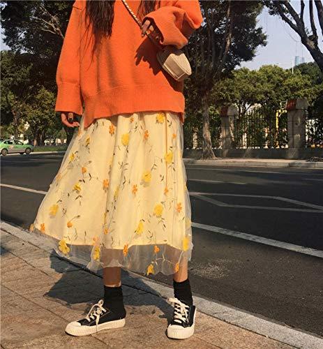 N-B Yellow 3D Flower Lace Skrit Women High Waist Mesh Long Skrit Female Elegant Midi Tulle Skirt Sweet Cute Student School Wear Saia