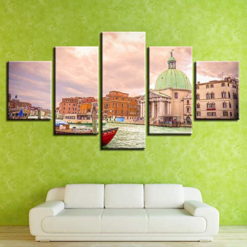 LPHMMD 5 canvas paintings Canvas Wall Art Pictures Living Room Decor 5 Pieces Water City Building Landscape Posters HD Printed Paintings-30x40cm 30x60cm 30x80cm