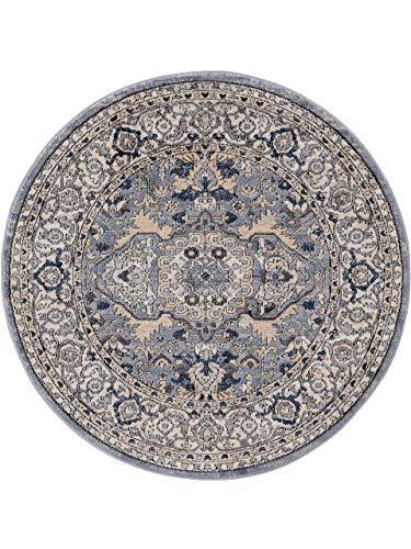 benuta CLASSIC Alfombra Redonda de Pelo Corto Sinan, Color Gris Oscuro, diámetro de 160 cm, Redonda, Moderna Alfombra para salón