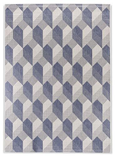 In- und Outdoor-Teppich Modern Block Pattern Bluegrey L 140 x 200 cm Kunststoff für Innen und Außen