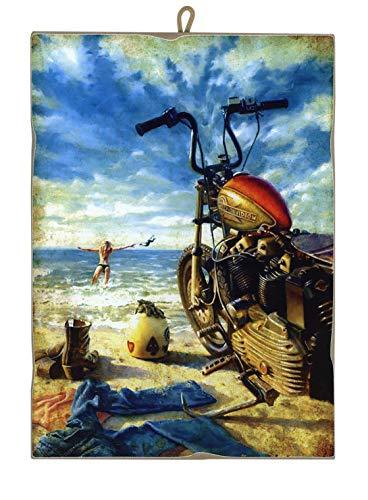 KUSTOM ART Quadro Quadretto Stile Vintage Harley Davidson con Bagnante da Collezione Stampa Laser su Legno Alta qualità Made in Italy - Idea Regalo