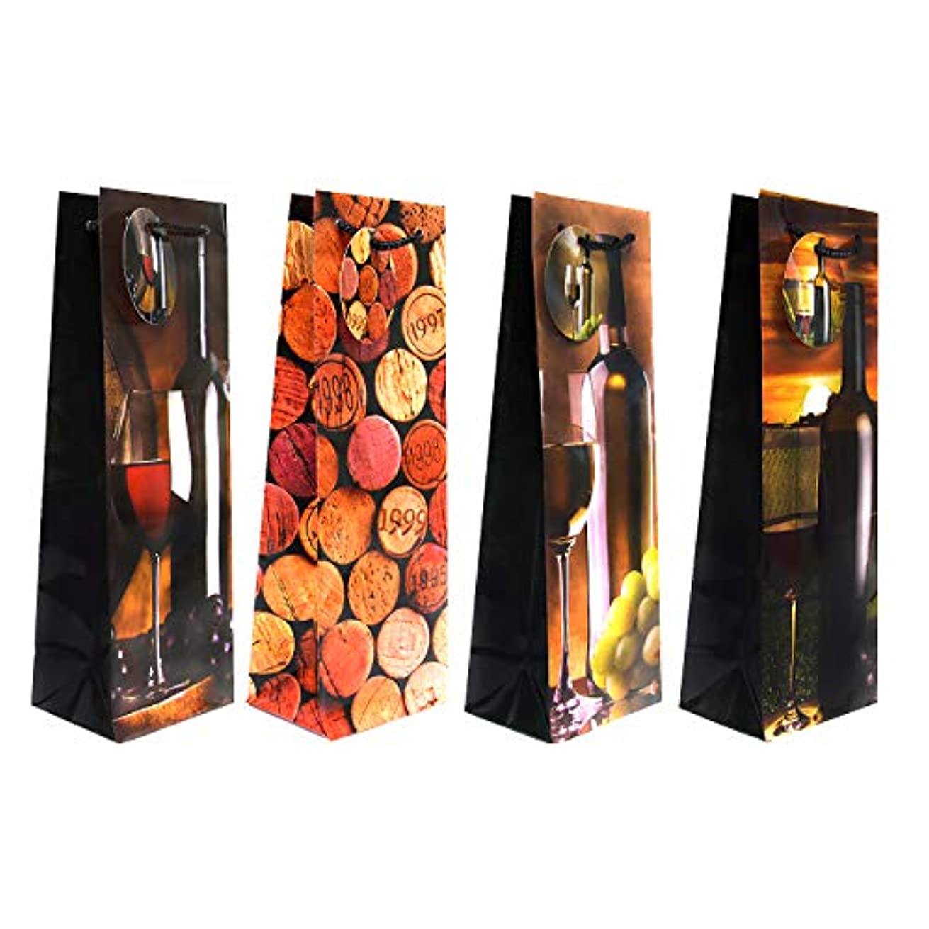12 pc, Wine Gift Bags, Classic and Modern Wine Gift Bag Set of 4 Designs