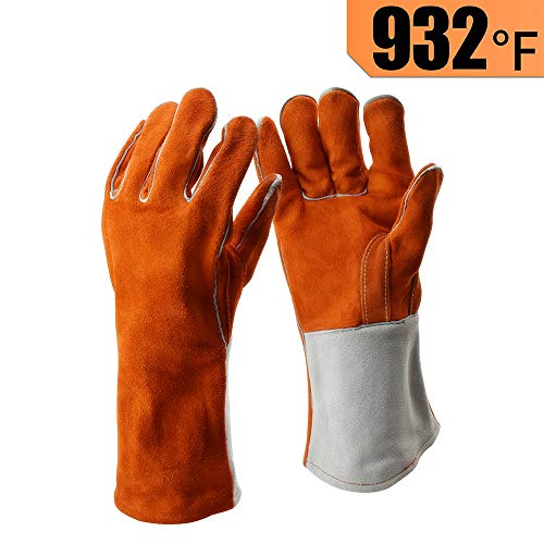 Heavy Duty Thick Welding Gloves, Flexible Sturdy Large Cowhide Fireplace Gloves, High Heat Proof Fire Resistant Gloves For Arc, Tig, Stick, Mig Welding, By LifBetter (L)