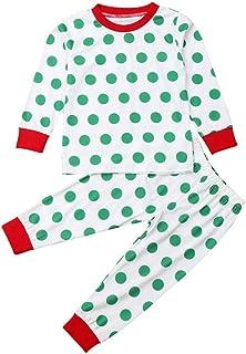Weixinbuy Kids Baby Boys Girls Polka Dot Crewneck Xmas Pajamas Set Christmas Sleepwear Pjs Set