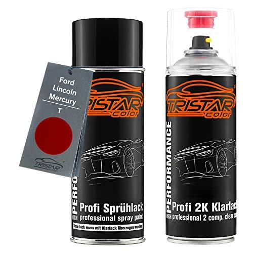 TRISTARcolor Autolack 2K Spraydosen Set für Ford/Lincoln/Mercury T Candy Apple Red Basislack 2 Komponenten Klarlack Sprühdose