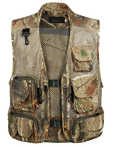 Flygo Men's Fishing Outdoor Utility Hunting Climbing Tactical Camo Mesh Removable Vest with Multi Pocket (Large, Desert)