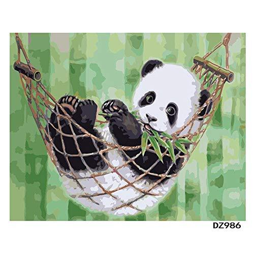 DMLGQ digitaal schilderij om te knutselen, olieverfschilderij, decoratie, door u zelf geschilderd, canvas, 40 x 50 cm, hangmat Panda Encadrée