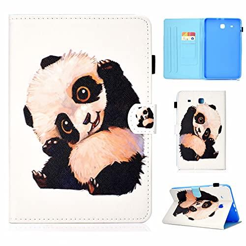 TTNAO Funda Compatible con Samsung Galaxy Tab E 9.6'' SM-T560 Case de TPU Suave Carcasa [+ Ranuras para Tarjetas] [+ Soporte de Visualización] Cover de Piel Cartera Plegable, Panda Que Hace Señas