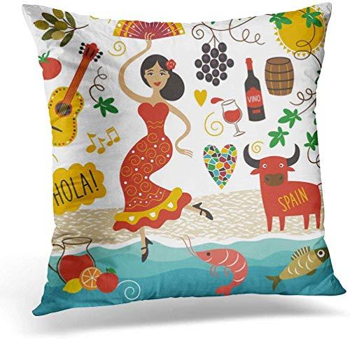 KINGAM Funda de cojín de 45 x 45 cm, color rojo, España, lugares de interés y símbolos de la comida de viaje Barcelona, decoración del hogar, funda de almohada cuadrada para cama sofá