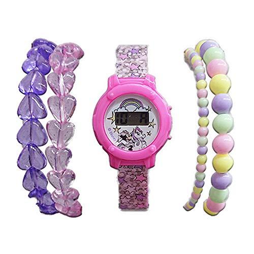 Disney - Reloj Digital y Set de Pulseras Minnie Mouse.Reloj para niñas Disney,el Regalo Ideal.Set Reloj Digital y Juego de Pulseras Minnie Mouse para niñas a Partir 3 años.Producto Oficial