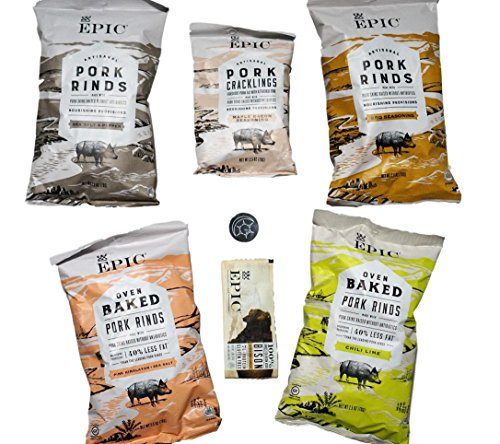 Epic Pork Rinds Variety Pack Plus Bonus Epic Bison Bar and Unique Fridge Magnet