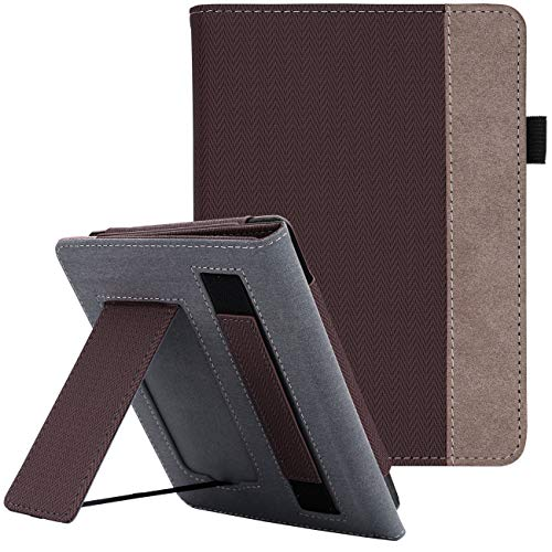 WALNEW Stand Case Fits Kindle Paperwhite 10th Generation 2018 PU Leather Case Smart Protective Cover with Hand Strap (Coffe)