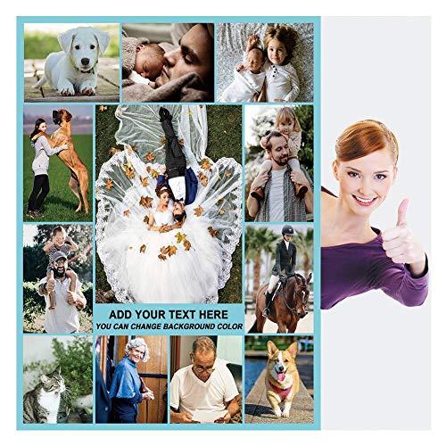 Fotodecke Personalisierte Decke mit Bild für Erwachsene Baby Haustier Flanell Vlies Customized Photo Throw Geburtstag Hochzeitsgeschenk 12 Fotos Collage (120x150cm)