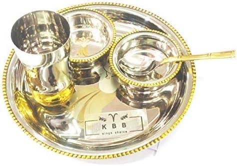 KBB Brass Steel Two Tone 送料無料 おすすめ特集 Dinner Set of Gla Thali Plate Bowls