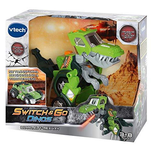 VTech- Barro, el T-Rex 4x4. Dinosaurio electrónico interactivo transformable en coche con voz, funciones, mas de 60 sonidos y frases. (3480-197222) , color/modelo surtido
