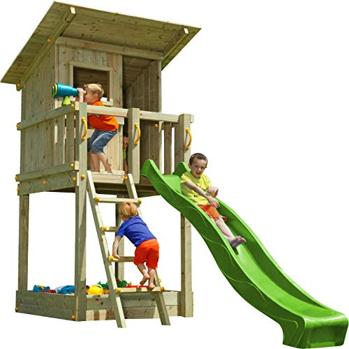 MASGAMES | Parque Infantil Torre Beach Hut XL | Altura Plataforma 150 cm | Anclajes incluidos | Uso doméstico |
