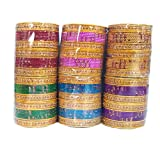 Yuktha Eternals Multicolored Bangles (6 Multi Colors x 24 Bangles Each) For Girls & Womens Ethnic Jewelry (2.4 Inches) (Bang-05)