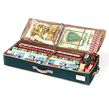 CoverMates – Premium Gift Wrap Organizer – Holds up to 15 Rolls + Accessories – 3 Year Warranty- Green