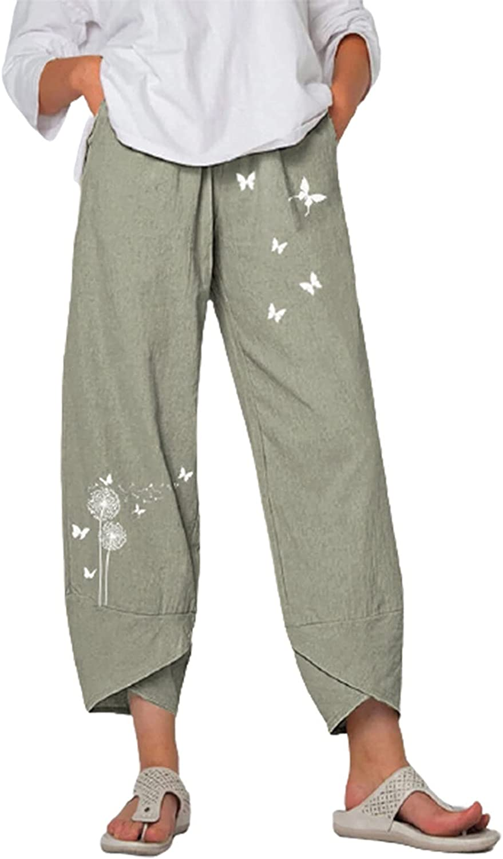 MASZONE Linen Harem Pants for Women Casual Capri Pants Elastic Waist Wide Leg Pants Workout Fitness Trousers with Pocket