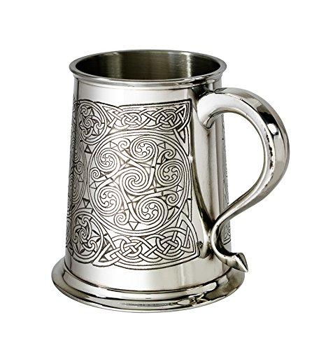 Wentworth Pewter Bierkrug aus Zinn, keltisches Design, 350 ml