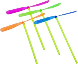 TangTanger Mini Flying Dragonflies 100 pcs Assorted Colors Plastic Bamboo-Copter Bamboo Dragonfly Toy