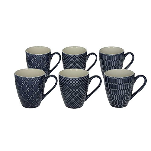 Tognana 6er Set Kaffeebecher/Kaffeetasse/Becher/Mug aus Keramik, 430 ml, in blau, mit unterschiedlichen Strukturen in der Oberfläche