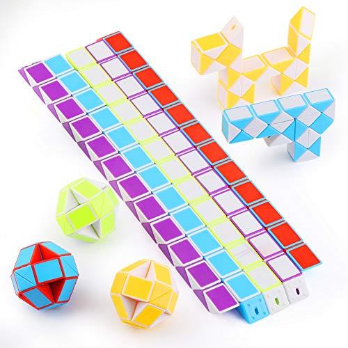Mitening 10 Stücke 24 Blöcke Mini Schlangen Würfel, Magische Geschwindigkeit Würfel, Mini Puzzle Würfel Spielzeug für Kinder Party Tasche Füllstoff (Zufällige Farbe)