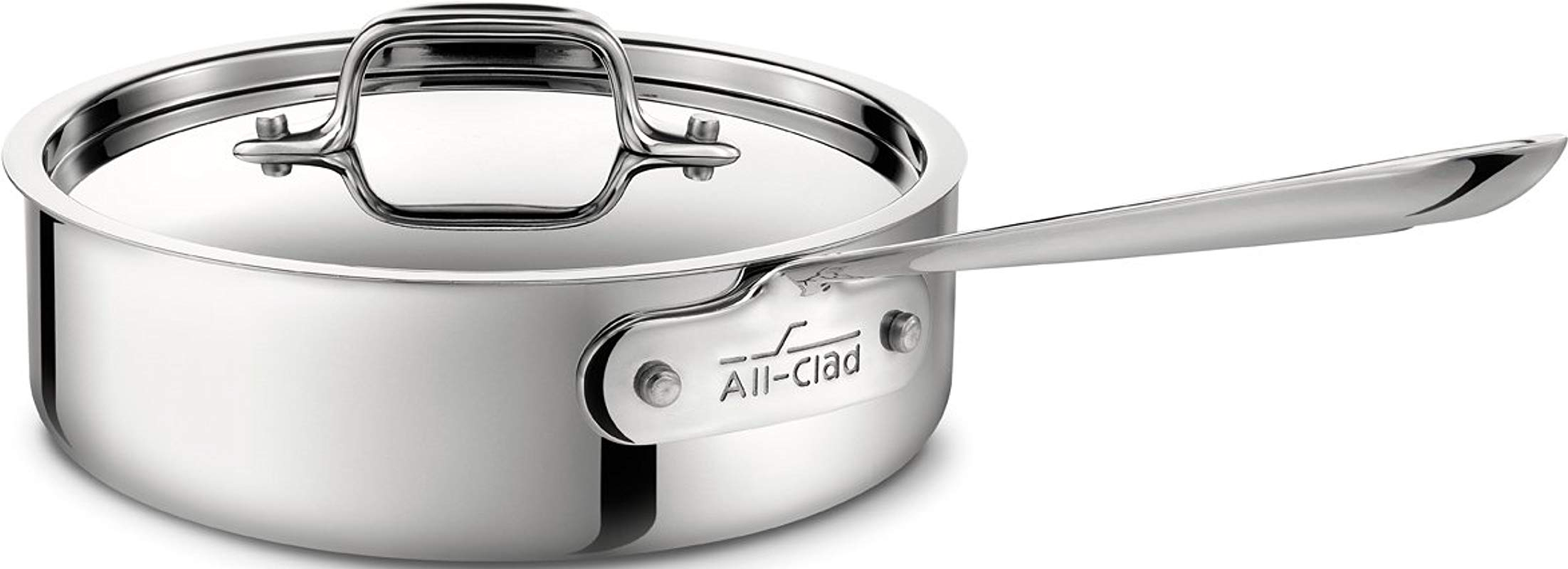 All Clad 4402 Stainless Steel Tri Ply Bonded Dishwasher Safe Saute Pan With Lid Cookware 2 Quart Silver