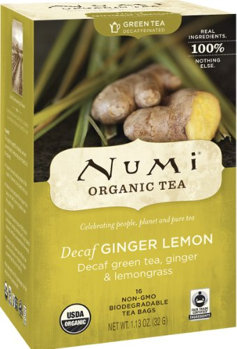 Numi Organic Tea Decaf Ginger Lemon, 16 Count Box of Tea Bags (Pack of 3) Decaf Green Tea (Packaging...