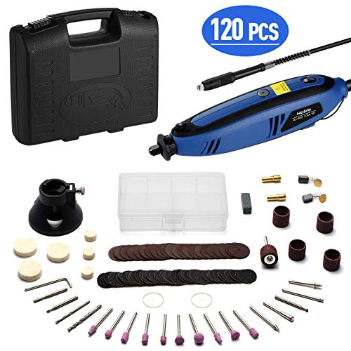 Multifunktionswerkzeug, Holife 130 Watt Drehwerkzeug mit 120tlg-Zubehör, Rotary Tool mit Biegsame Welle für DIY Schleifen Schneiden Gravur(inkl. Werkzeugkoffer, Leerlaufdrehzahl: 8000-30000 U/min)
