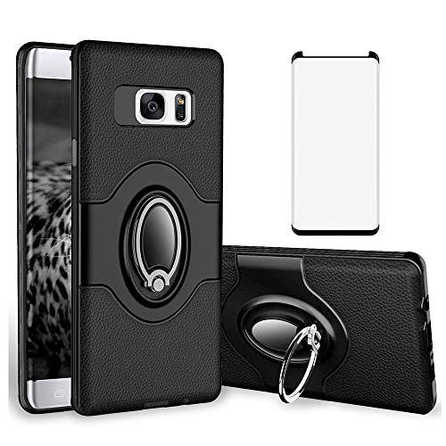 Phone Case for Samsung Galaxy S7 Edge with Tempered Glass Screen Protector Cover and Magnetic Stand Ring Holder Accessories Glaxay S7edge Gaxaly S 7 Plus Galaxies GS7 7s 7edge Women Men Black