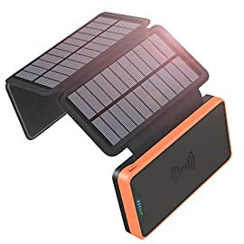 SOARAISE Solar Charger 25000mAh Power Bank with 4 Solar Panels Waterproof Portable Phone Charger Battery Pack with 2 USB… 2 25000mAh High Capacity: It consists of Li-polymer cells, as large as iPhone 8Plus which can charge most phones over 10 times and tablets at least 3.4 times., meeting your 10-day travel needs. 4 Times Solar Panels: Solar Power is 5W, quickly charging the phone simultaneously when the solar charger itself is being charged in sunlight, which is 4-5 times faster than the single-panel chargers. (support wall charger). 2.1A Dual USB Fast Charging: Controlled by intelligent IC, it matches various phone models. You can quickly charge your phone and tablet at once. Most phones can be fully charged around 1- 1.5h, tablet is about 2.5 hours.