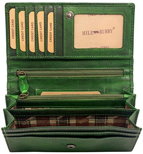 Hill Burry hochwertige Geldbörse   aus weichem Vintage Leder - Langes Portemonnaie - Kreditkartenetui - RFID (Grün)