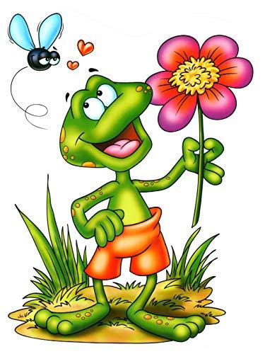 dpr. Fensterbild Frosch Blume Fliege Fenstersticker Fensterdeko Aufkleber Fenster Deko