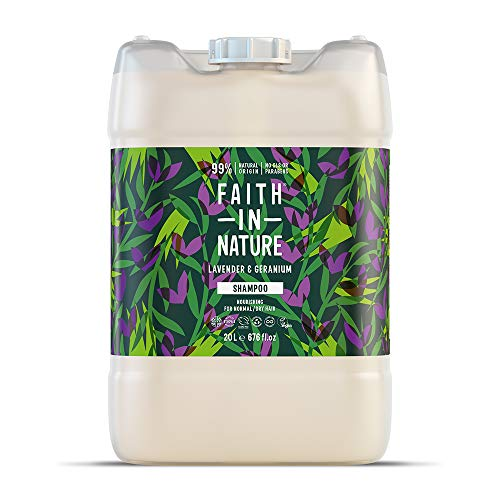 Faith in Nature Natural Lavender and Geranium Shampoo, Nourishing, Vegan and Cruelty Free, Parabens And Sls Free, For Normal To Dry Hair, 20 L Refill Pack
