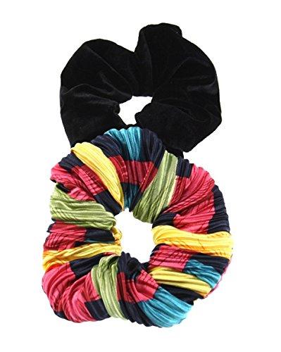 ZAC de Alter Ego® Lot de 2 chouchous – 1 Multi 80 plissé de inspiré et 1 en velours noir