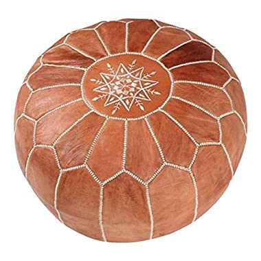 MaisonMarrakech Handmade Leather Footstool Marrakech Tan Brown with White Stitching Unstuffed 23  x 12''
