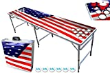 8-Foot Beer Pong Table w/Cup Holes & 6 PartyPong Balls - USA Flag Edition