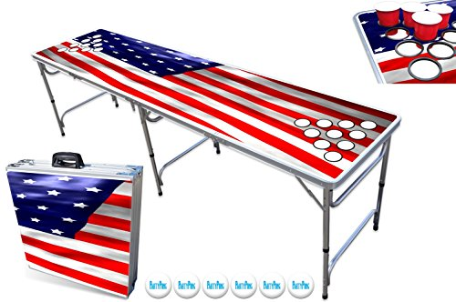 Sale!! PartyPongTables.com 8-Foot Beer Pong Table w/Cup Holes - USA Edition