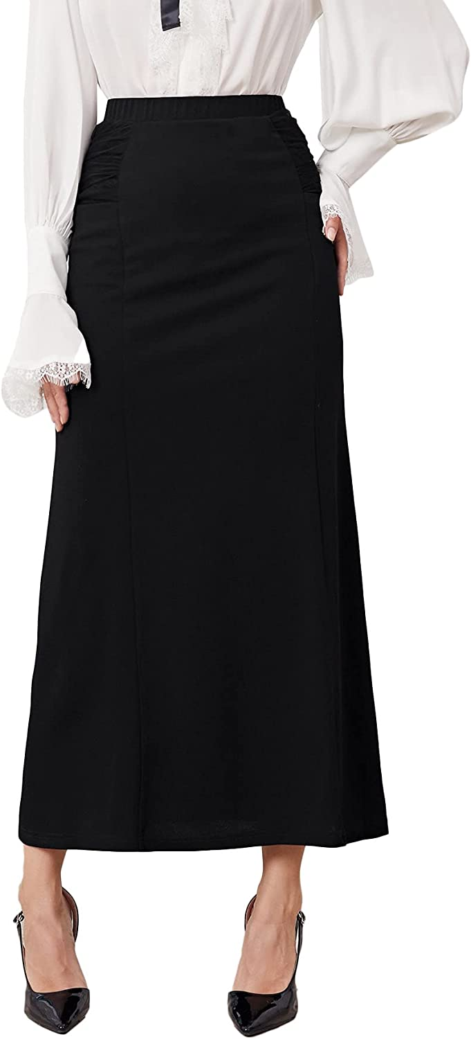MakeMeChic Women's High Waist Ruched Straight Solid Long Skirt with Pockets