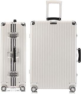 LANBAO スーツケース アルミフレーム 軽量 キャリーケース 耐衝撃 キャリーケース 機内持込 キャリーバッグ 人気 大型 TSAロック付 静音 旅行出張 ヘアライン仕上げ 1年保証 (S, ワイト)