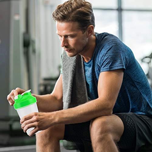 Botella de batido, hervidor deportivo de 400 ml, taza de agua para ejercicios, botella deportiva fácil de limpiar, portátil a prueba de fugas para fitness, deportes al aire libre(verde)
