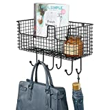 mDesign Metal Wire Farmhouse Wall Decor Storage Organizer Basket with 6 Hooks for Entryway, Hallway, Mudroom, Bedroom, Bathroom, Laundry Room - Wall Mount - Black