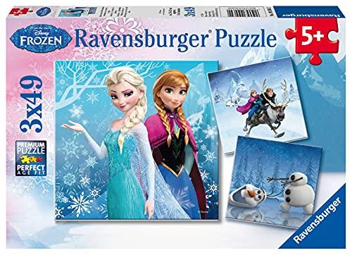 Ravensburger Puzzle, Frozen, Puzzle 3 x 49 Pezzi, Puzzle per Bambini, Puzzle Frozen, Età Consigliata 5+ Anni