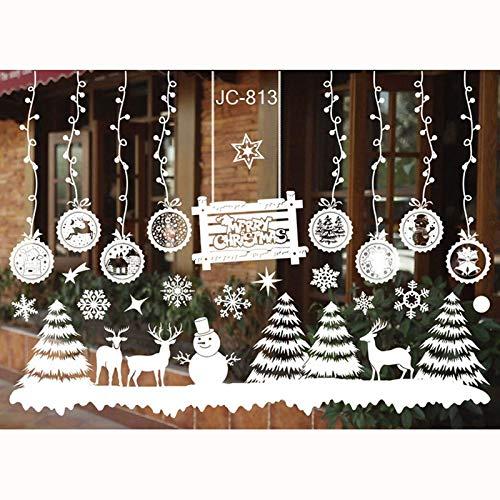 FLZONE 2 Feuilles Autocollants de Fenêtre de Noël,Flocons De Neige Autocollants,NoëL D'autocollants de Fête NoëL Stickers Décoration pour Décorations de vitrines de Noël(Bonhomme de Neige)