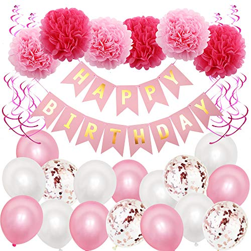 Steeler Rosa Geburtstagsfeier Luftballons Dekorationen Geburtstag Banner Papier Blume Ball Dekorationen Kit wiederholt verwendet für Jungen Mädchen Freundin Freund Überraschung